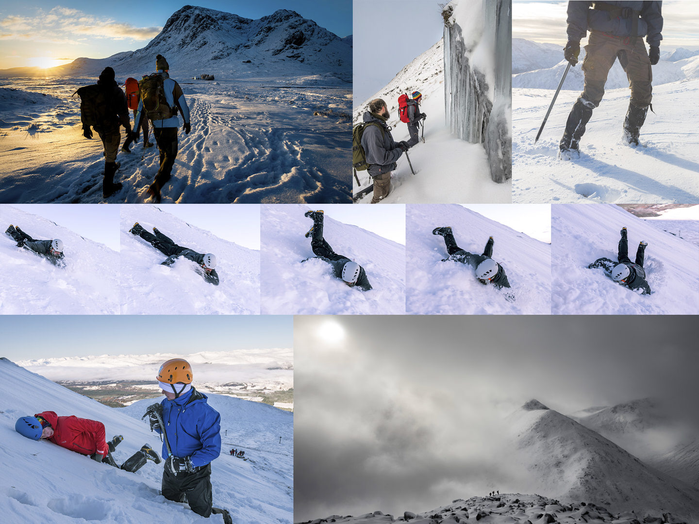 Two hikers ascend a winter slope, backdropped by cloud and mountain
