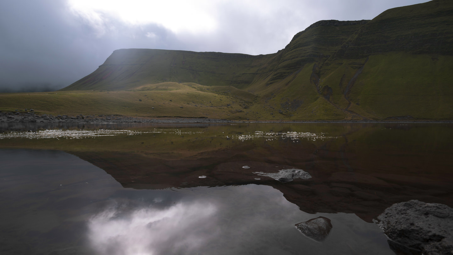 The Camarthen Fans reflected in Llyn Y Fan Fach
